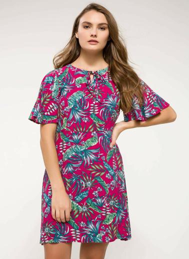 DeFacto Desenli Kloş Elbise Pembe